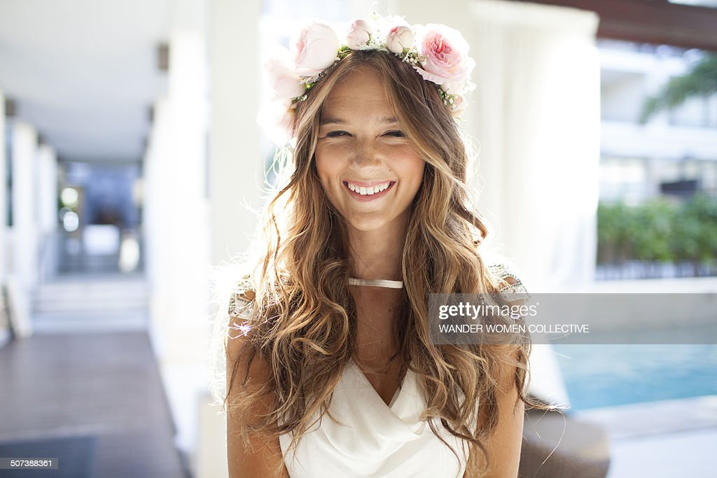 Happy beautiful  bride laughing close up : Stock Photo