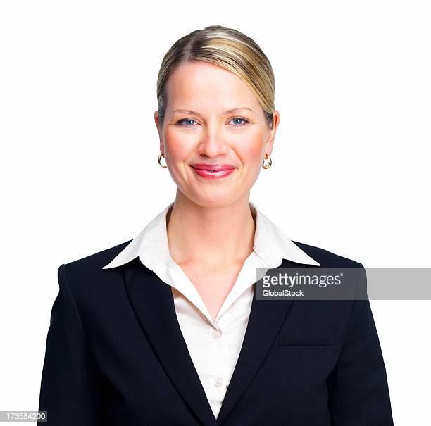 Happy beautiful businesswoman smiling