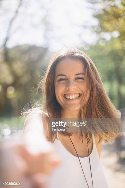Happy beautiful woman having fun in Barcelona.