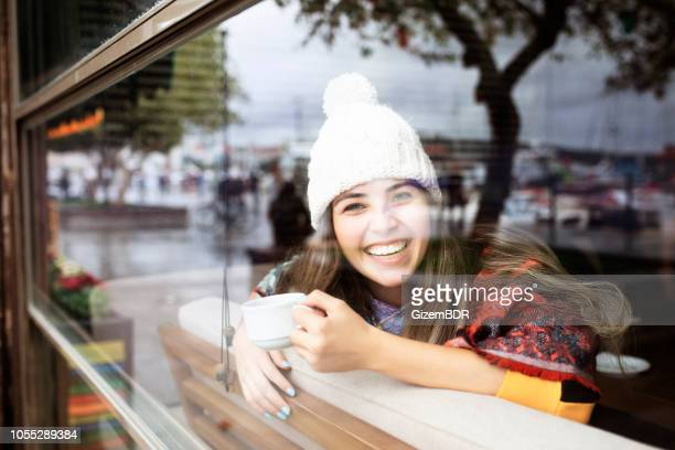 happy beautiful woman - shawl stock pictures, royalty-free photos & images