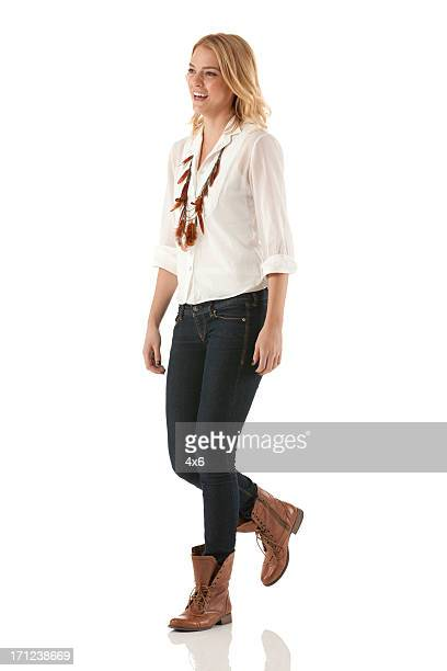 happy beautiful woman walking - mid length hair stock pictures, royalty-free photos & images