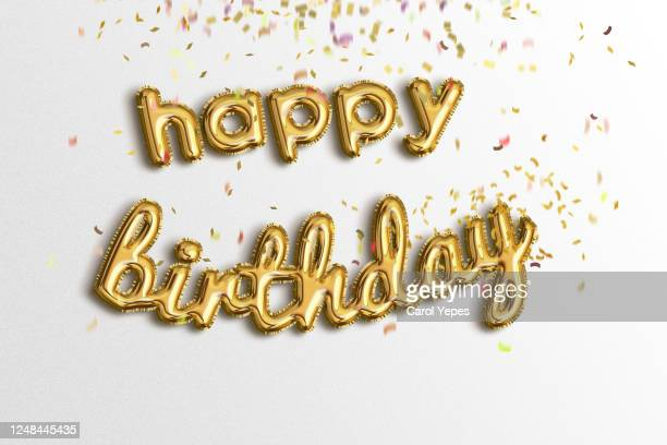 happy birthda ygolden foil balloons - happy birthday stock pictures, royalty-free photos & images