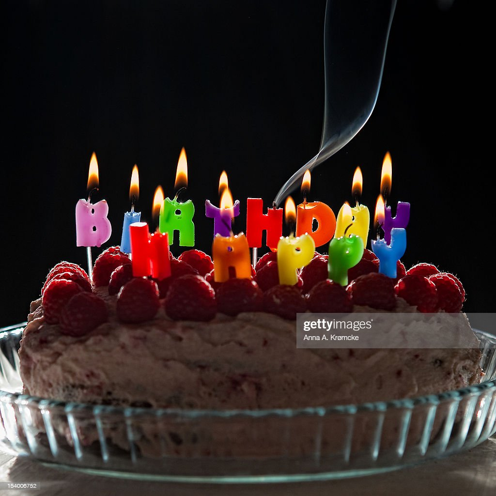 Happy Birthday Birthday Cake With Candlelight Stock Photo Getty Images
