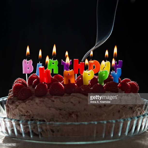 happy birthday, birthday cake with candlelight - birthday cake lots of candles stock photos and pictures