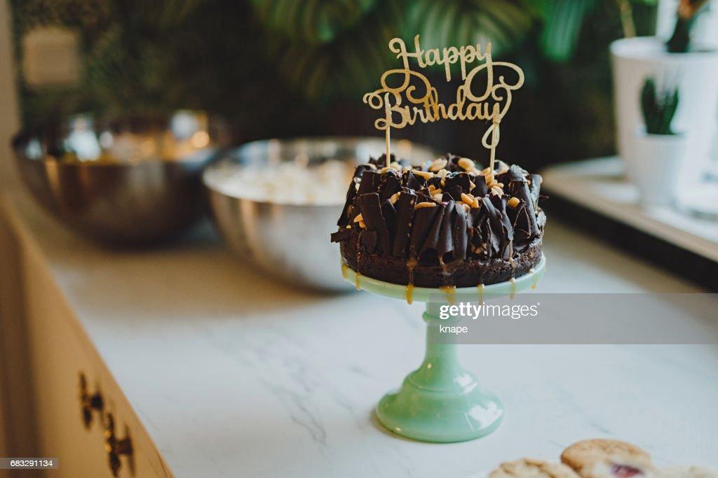Happy Birthday Cake Top Decoration And Chocolate Stock Foto