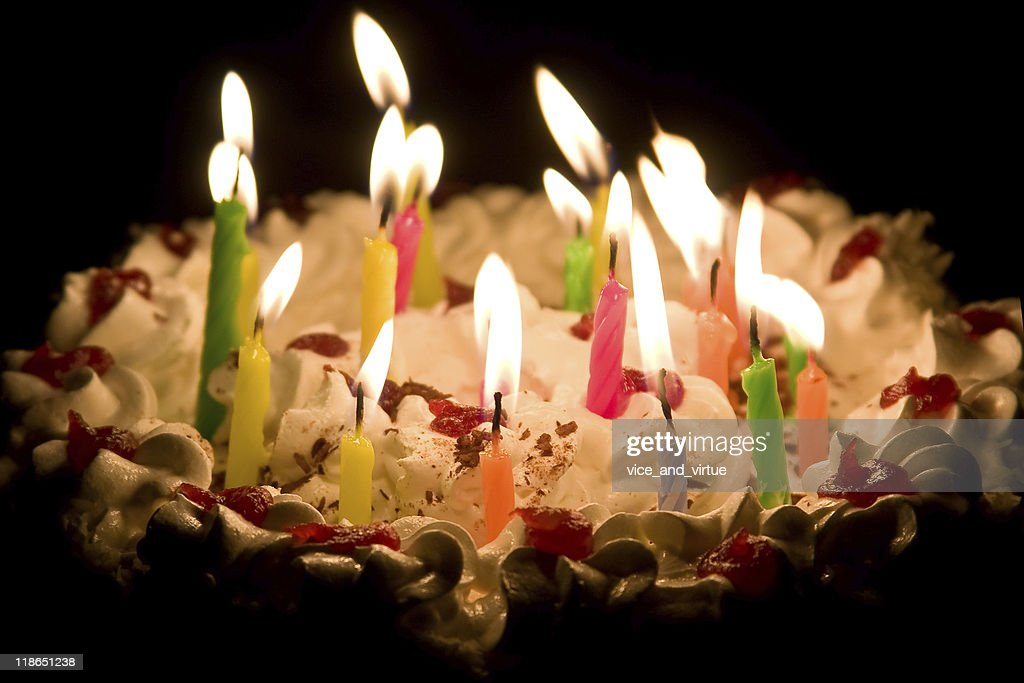 Happy Birthday Cake With Burning Candles Stock Photo Getty Images
