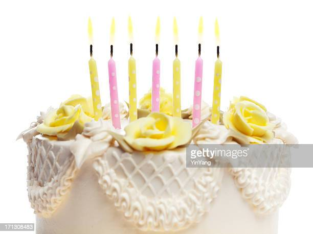 Happy Birthday Cake with Candles on White Background