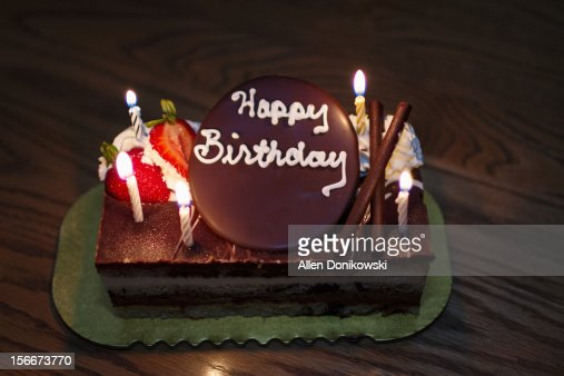 Happy Birthday Cake With Candles Stock Photo