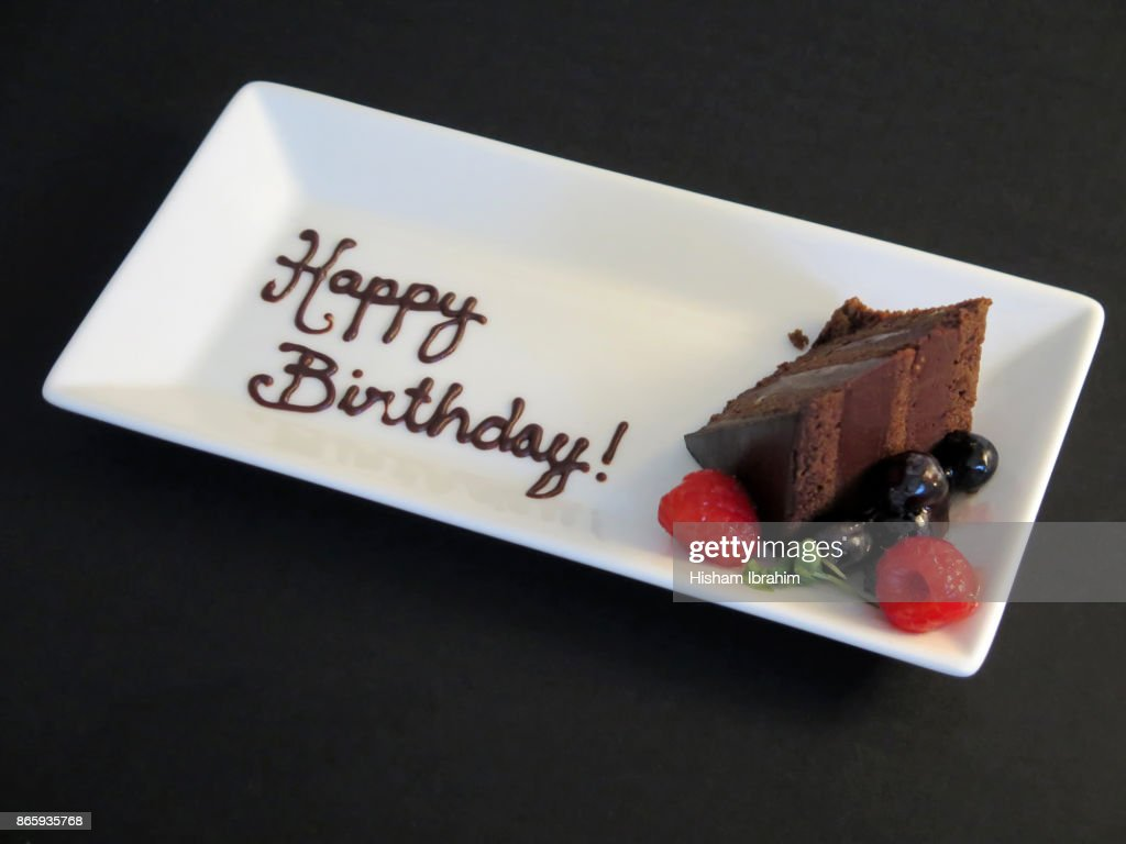 Happy Birthday Chocolate Cake Slice With Berries Stock Photo Getty