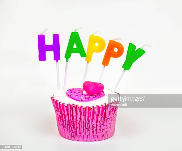 happy birthday cupcake - letter p stock pictures, royalty-free photos & images