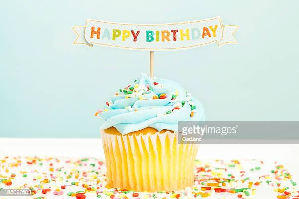 happy birthday cupcake - happy birthday stock pictures, royalty-free photos & images
