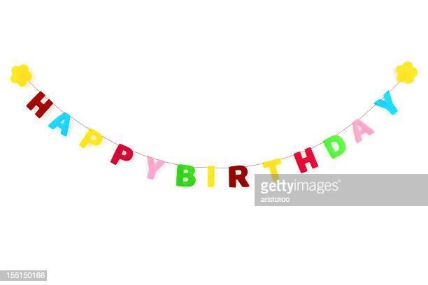 Happy Birthday Decoration, Isolated on White
