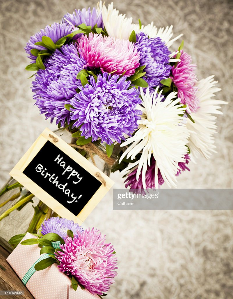 Happy birthday flowers and gift stock photo getty images happy birthday flowers and gift stock photo izmirmasajfo Image collections