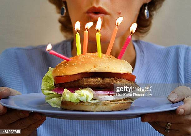 happy birthday hamburger with birthday candles - funny birthday stock photos and pictures