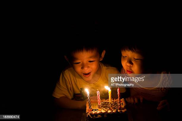 happy birthday~ - birthday candles stock photos and pictures