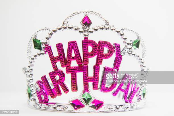 happy birthday - happybirthdaycrown stock pictures, royalty-free photos & images