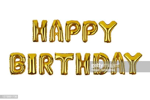 happy birthday sign made of foil balloons isolated on white background - monogram stock pictures, royalty-free photos & images