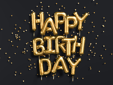 Happy Birthday text congratulations gold foil balloons on black 1085517258
