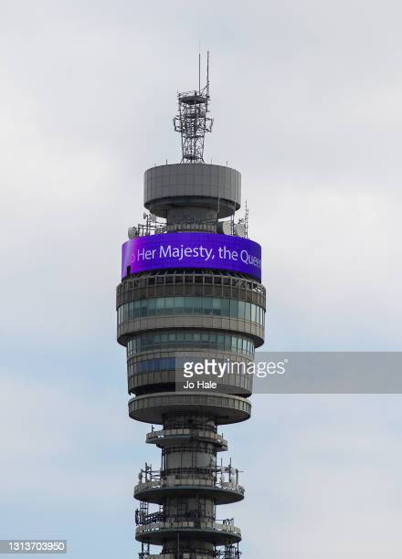 Happy Birthday to her Majesty the Queen', a message celebrating her 95th Birthday, is displayed on BT Tower on April 21, 2021 in London, England.