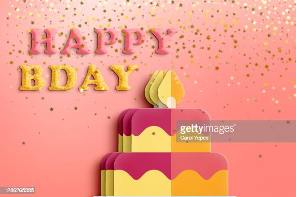 happy birthday with cake card - birthday card stock pictures, royalty-free photos & images