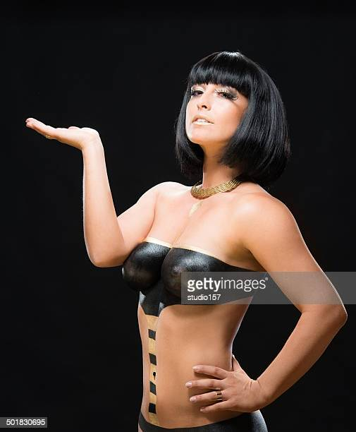 happy bodypainted girl - naturist stock pictures, royalty-free photos & images