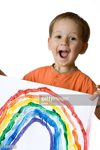 Happy boy and rainbow drawing