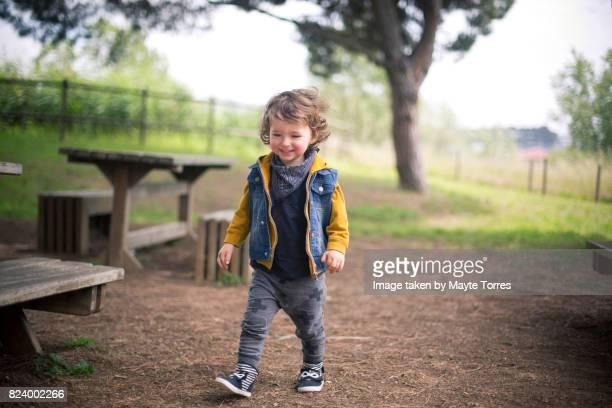 happy boy at picnic place