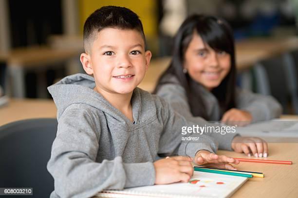 Happy boy at the school