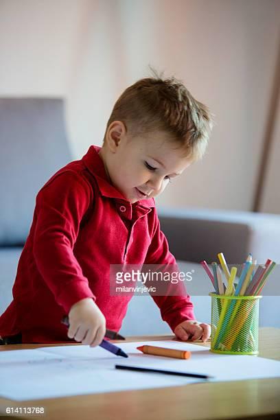 Happy boy coloring