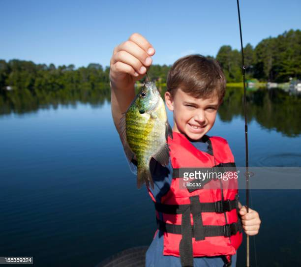 happy boy fishing - freshwater sunfish stock photos and pictures