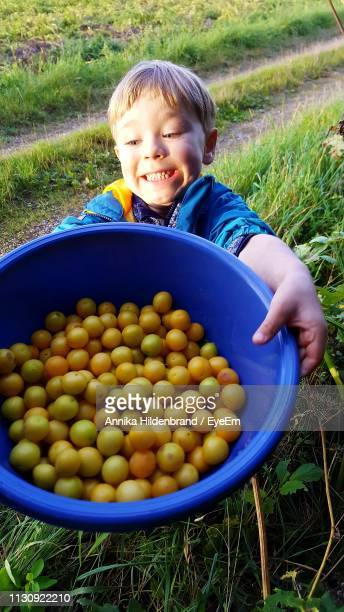 Happy Boy Holding Fruits In Container On Field