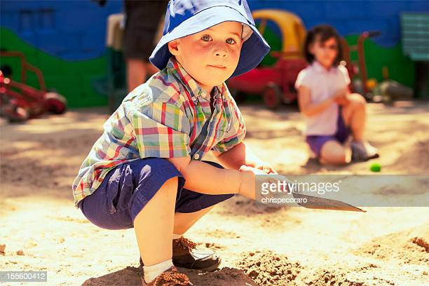 Happy Boy in the Sandbox