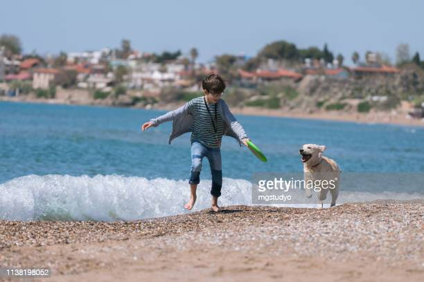 happy boy running wit her dog on the beach. - dog turkey stock pictures, royalty-free photos & images