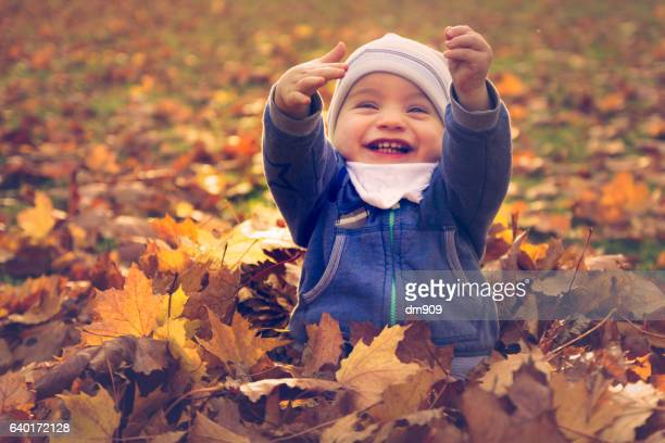 happy boy sitting in autumn leaves