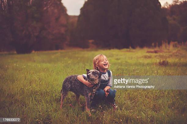 Happy boy with his dog