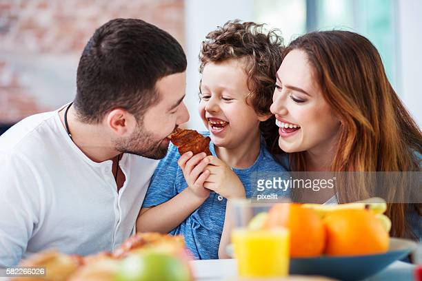 Happy breakfast with mom and dad