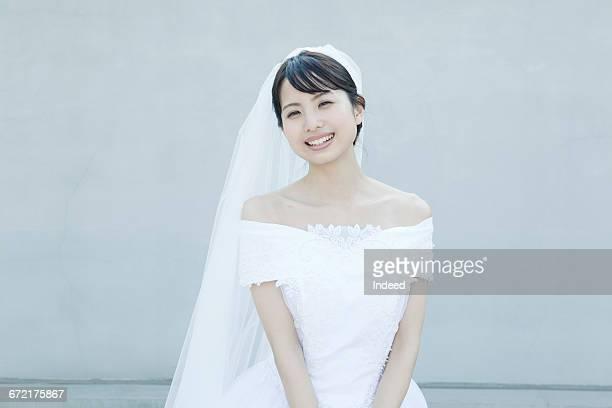 Happy bride smiling, portrait