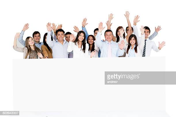 Happy business group with banner
