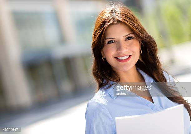 happy business woman - real estate office stock photos and pictures