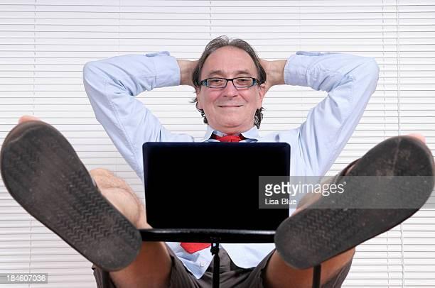 Happy Businessman Looking PC