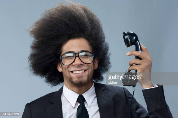 happy businessman on the phone - thick rimmed spectacles stock photos and pictures