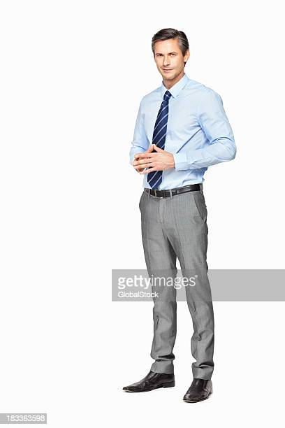 Happy businessman thinking deeply against white background