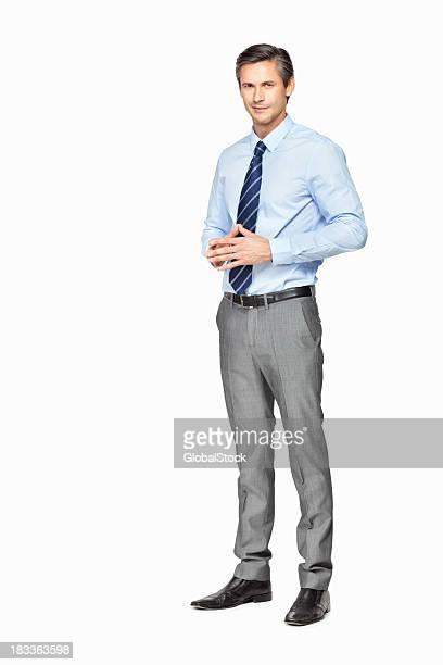 Glücklich Geschäftsmann denken zutiefst gegen Weißer Hintergrund
