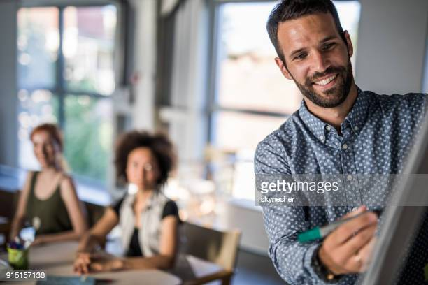 Happy businessman writing a business plan on whiteboard during a meeting in a board room.