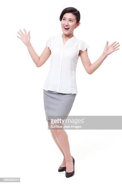 Happy businesswoman in surprise