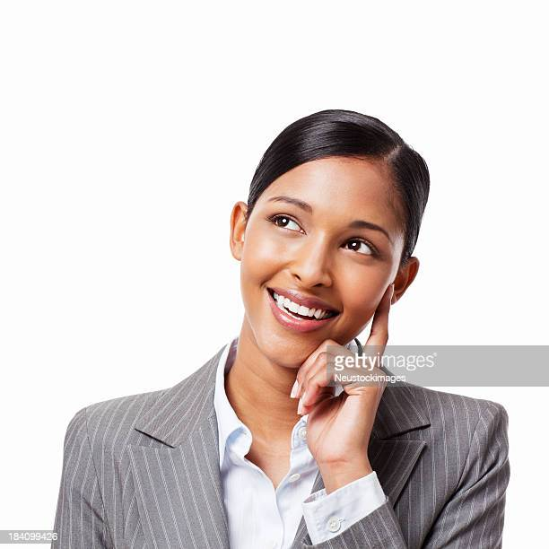 Happy Businesswoman in Thought - Isolated