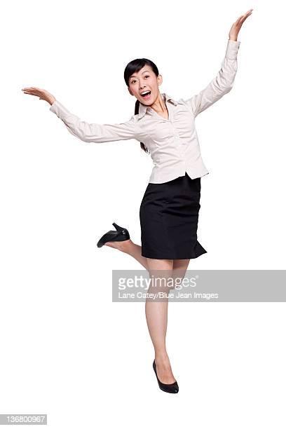 Happy Businesswoman Jumping