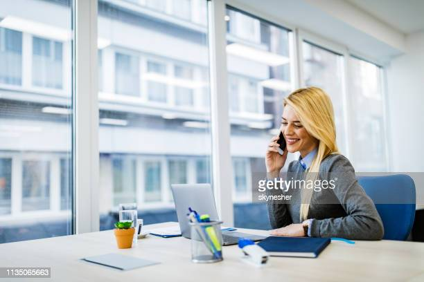 happy businesswoman talking on cell phone while working on laptop in the office. - bank manager stock pictures, royalty-free photos & images