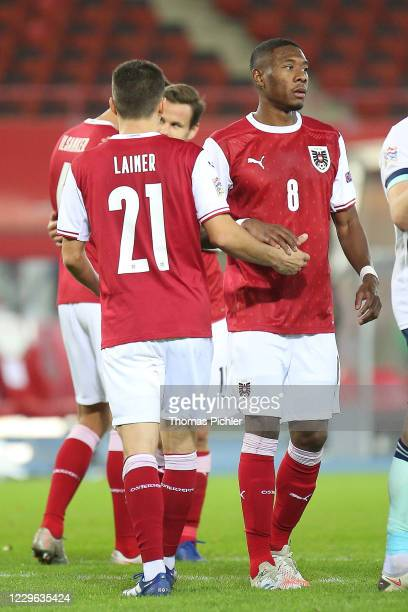 Happy by Stefan Lainer and David Alaba of Austria during the UEFA Nations League between Austria and Northern Ireland at the Ernst Happel Stadion on...