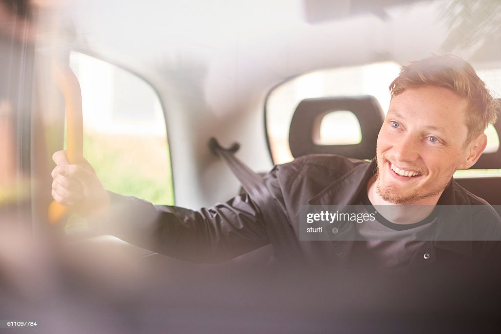 happy cab ride : Foto de stock